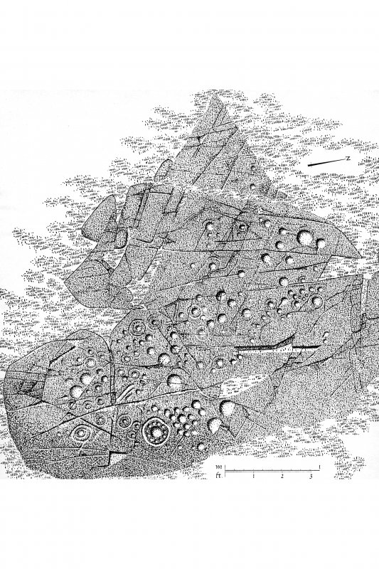 Drawing showing cup and ring marked rock, Ormaig.