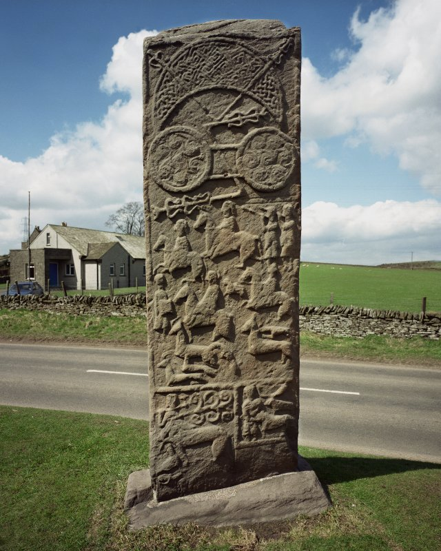 Aberlemno no 3, the Roadside cross-slab.  View of reverse, showing Pictish symbols and hunting scene.
