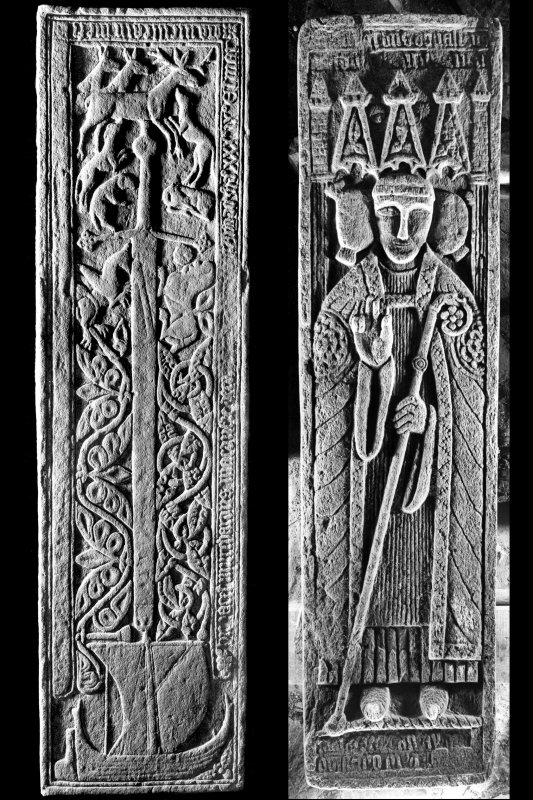 Oronsay Priory, grave slab. General view of grave slab of Muchardus MacDuffie.