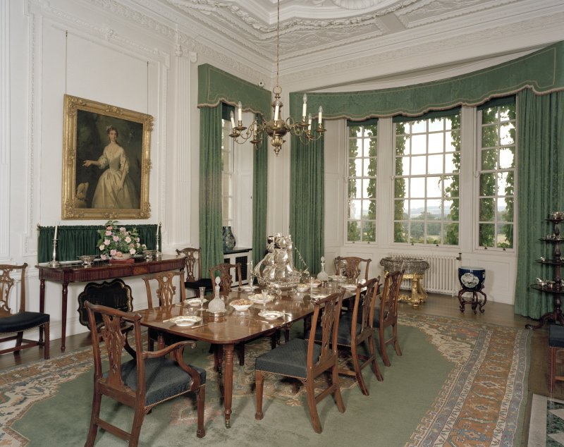 Hill of Tarvit, interior. Ground floor: view of dining room from North West