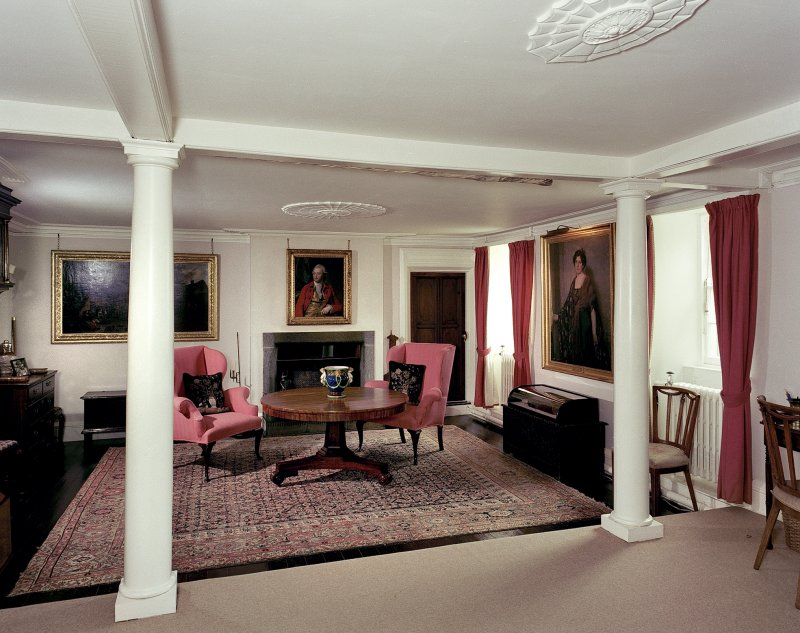 Leith Hall, interior.  Ground floor. Hall: view from South West