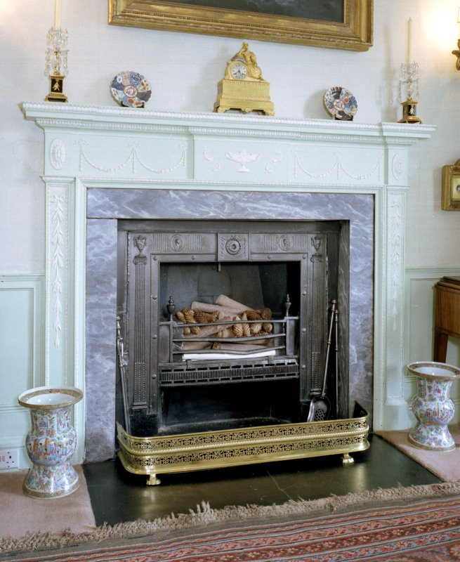 Leith Hall, interior.  First floor. Drawing room: detail of fireplace