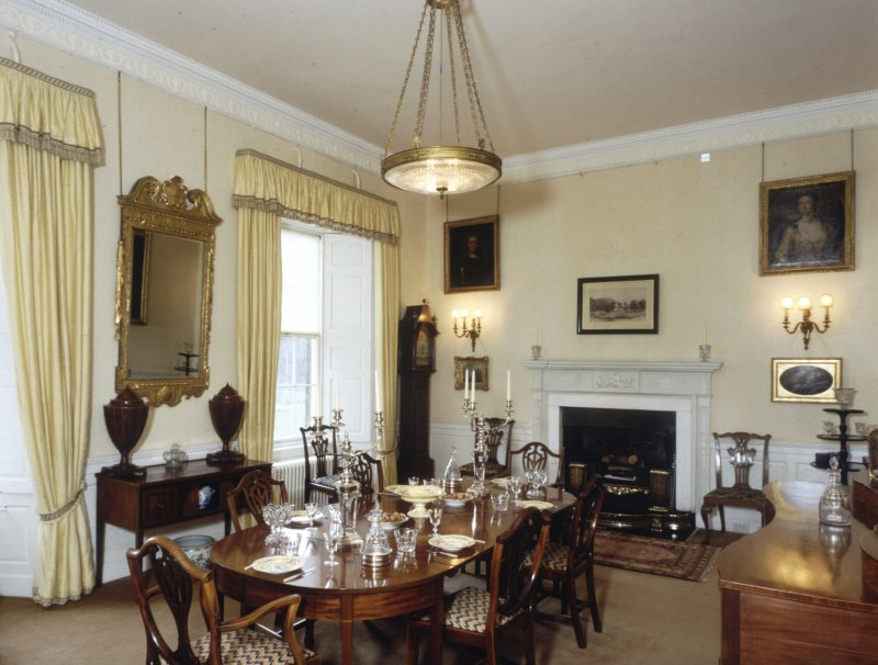 Leith Hall, interior.   First floor. Dining room: view from North West