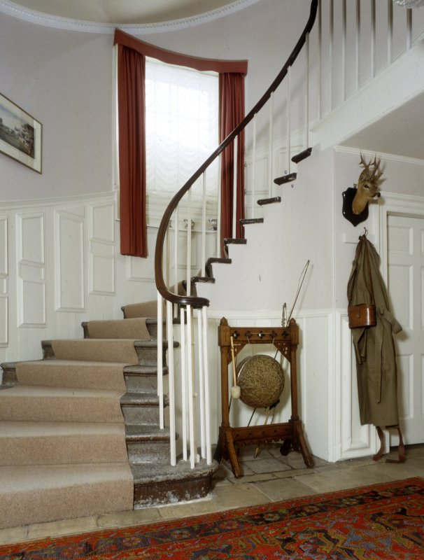Leith Hall, interior.  Ground floor. Staircase: view from North West