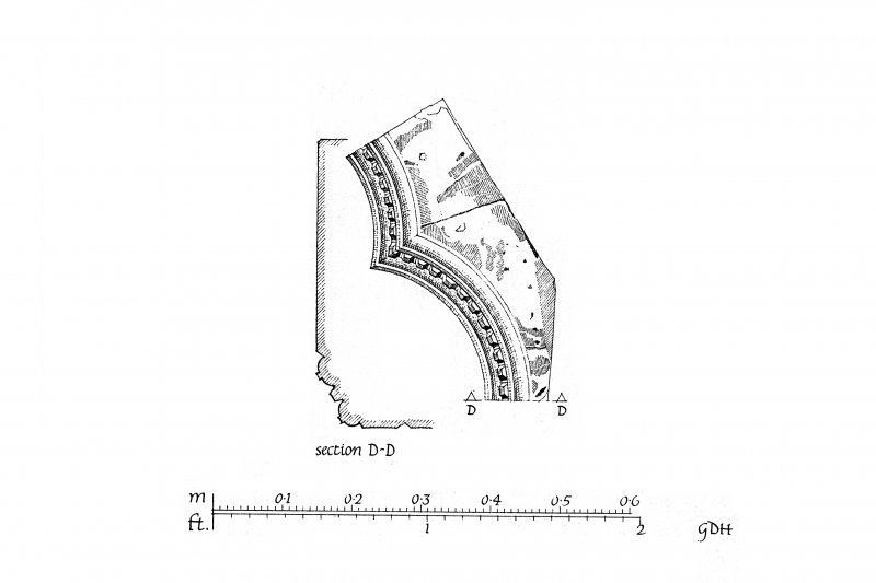 Iona, Iona Nunnery. Plan showing cloister-arcade, arch construction and moulding profiles.