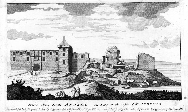 Engraving by John Slezer 1718 of St Andrews Castle. Copied from 'Theatrum Scotiae'. insc. 'Rudera Arcis Sancti Andreae.  The Ruins of the Castle of St. Andrews.  This plate following Prospect of the C ...