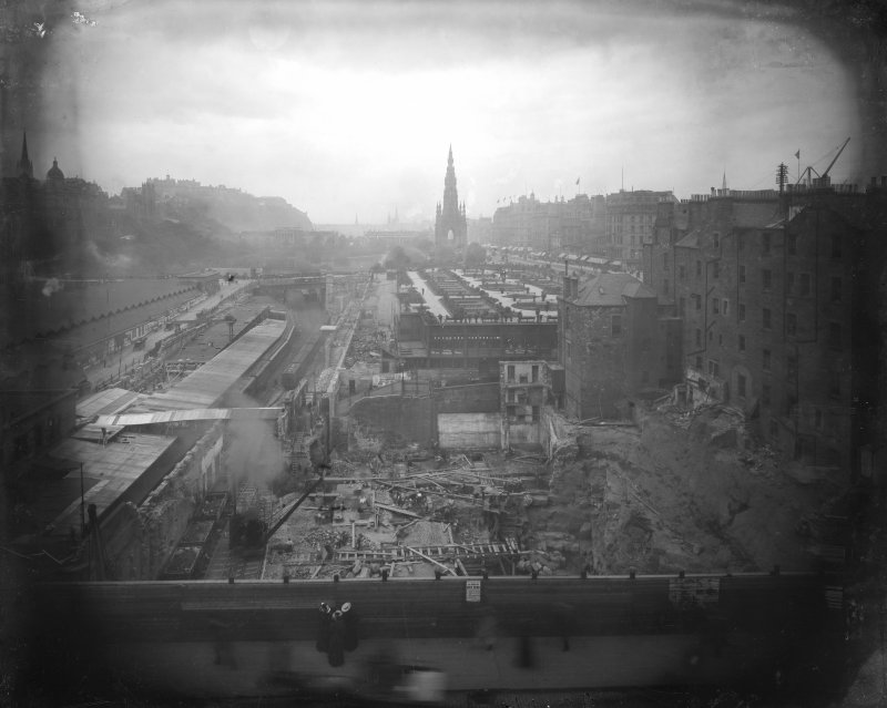 View of the construction of Waverley Station, Edinburgh.