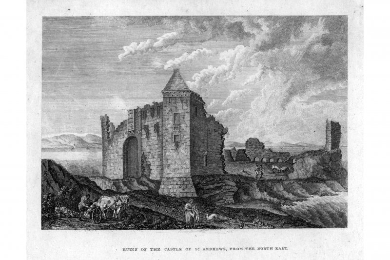 View from the South East. insc. 'Ruins of the Castle of St Andrews from the North East.'