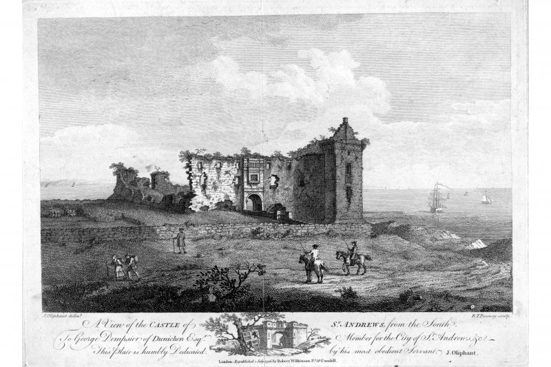 View from the South West. insc. 'A view of the Castle of St Andrews from the South. To George Dempster of Dunichen Esq. Member for the City of St. Andrews.  This plate is humbly Dedicated by his most  ...