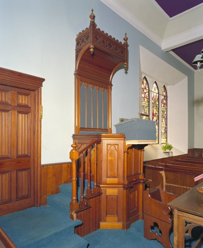 Interior. View of Pulpit from NE.