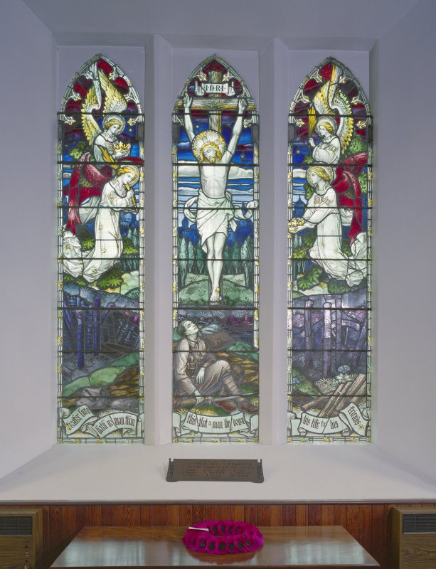 Interior. View of stained glass window in North wall.