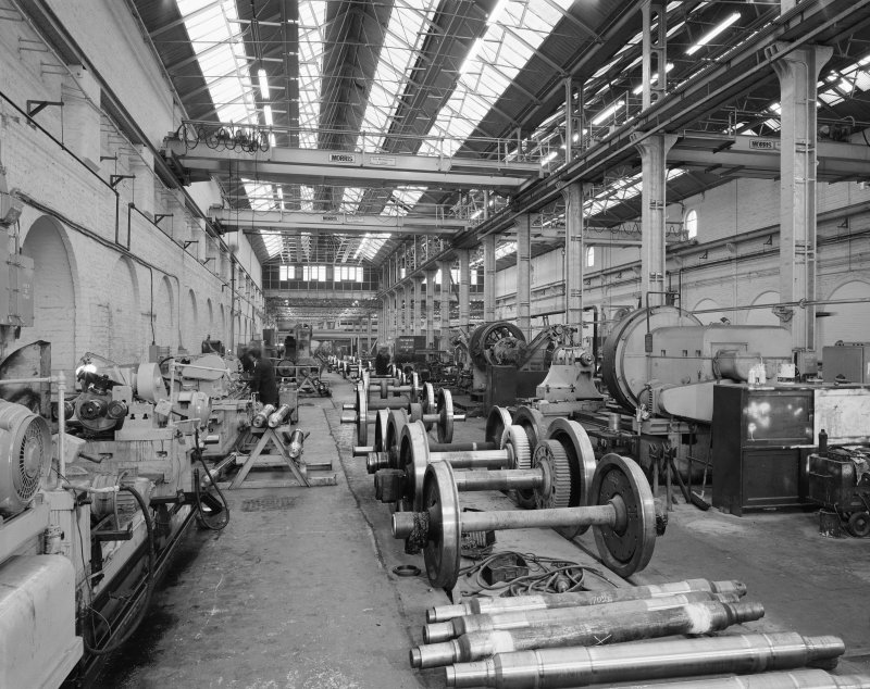 Interior view of wheelwright's shop at St Rollox Locomotive Works, Springburn, Glasgow, from East.