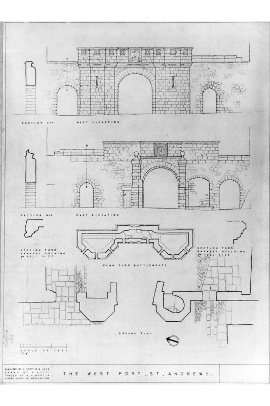 Photograph of drawing showing plans, sections and eleations.
