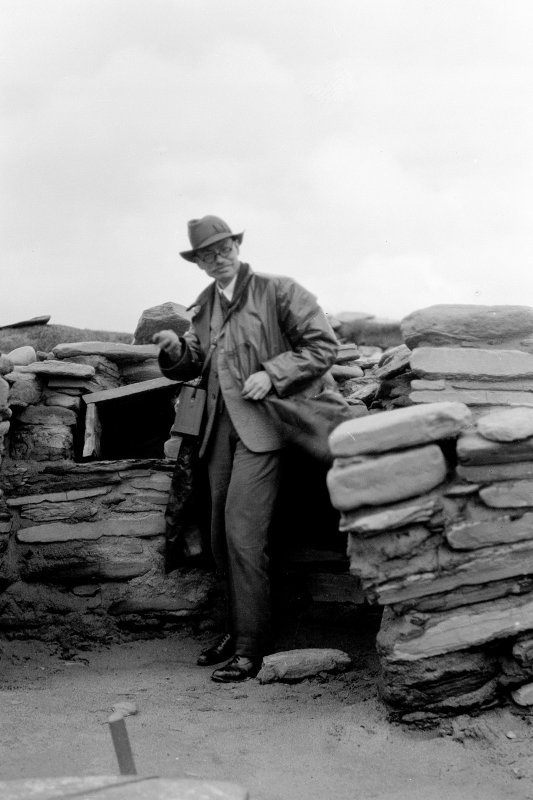 Skara Brae: Vere Gordon Childe in hut 8.