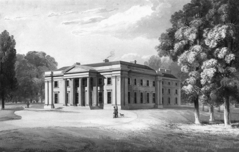 Watercolour showing perspective view of the House of Springwood Park u.s.   u.d. Attributed to James Gillespie Graham