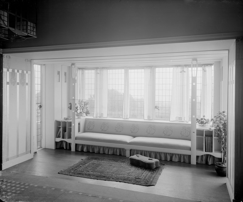 Interior view of window seat in Hill House, Helensburgh.