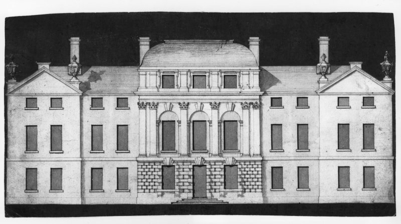 Photograph of drawing showing front elevation, possibly Traquair House.
