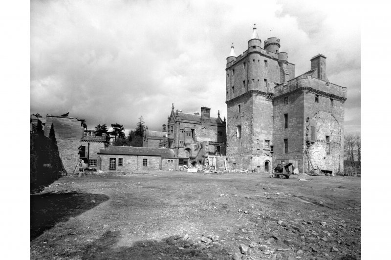 General view of tower house from SW after demolition of adjacent SW and SE wings.
