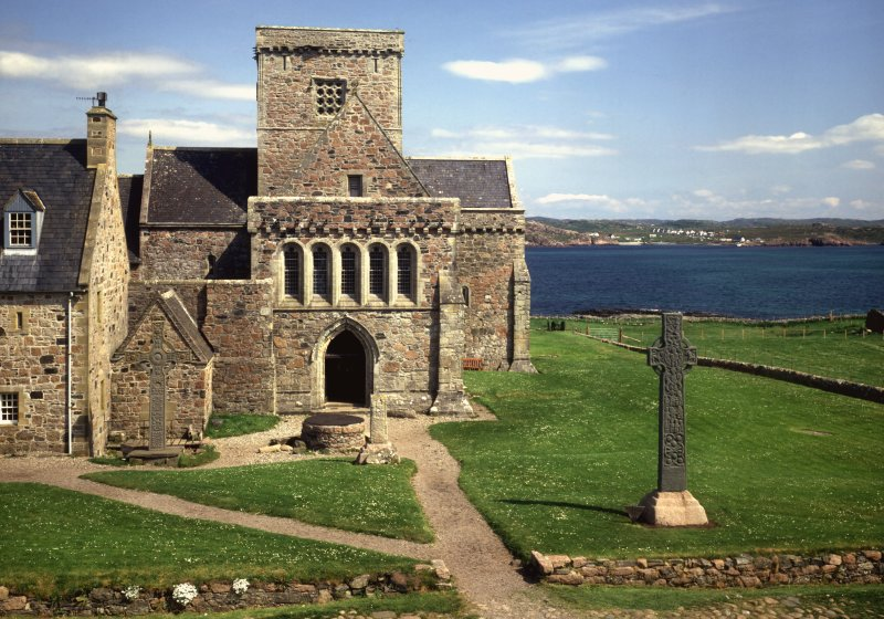 Iona, Iona Abbey. View of west door with St John's and St Martin's Crosses.