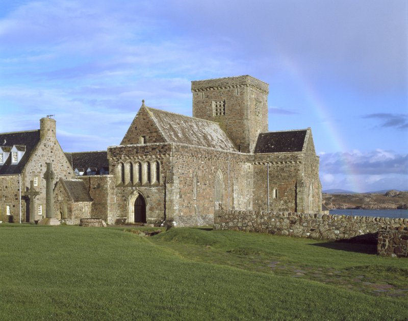 Iona, Iona Abbey. General view from South-West including St John's and St Martin's crosses.