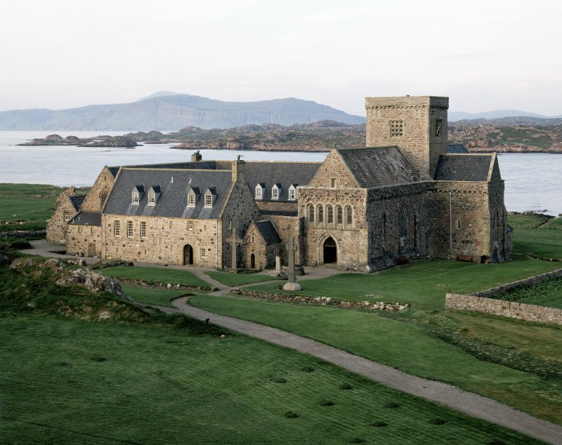 Iona, Iona Abbey. General view from from South-West in evening light.