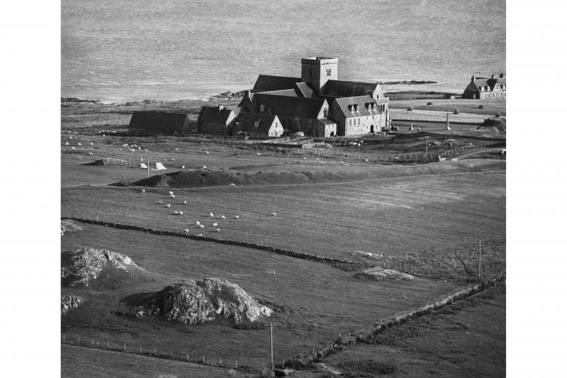 Iona, Iona Abbey & Vallum. General view from North-West.