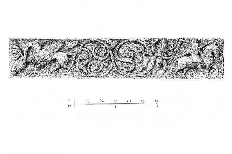 Iona, Iona Abbey. Plan showing details of choir/crossing carved capitals and preparatory drawing for 'Iona Guide'.