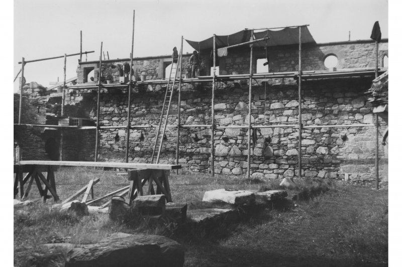 Iona, Iona Abbey. View of refectory from South during restoration.