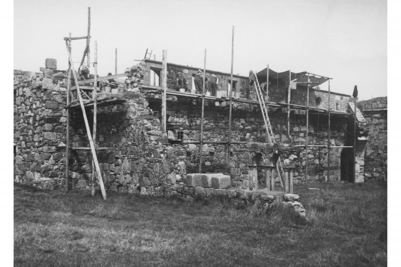 Iona, Iona Abbey. View of refectory from South-West during restoration.