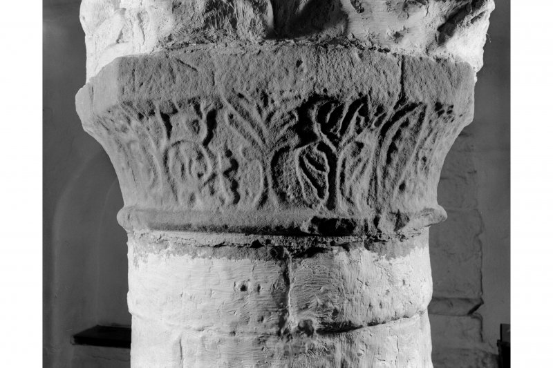 Iona, Iona Abbey, interior. View of chapter house carved capital.