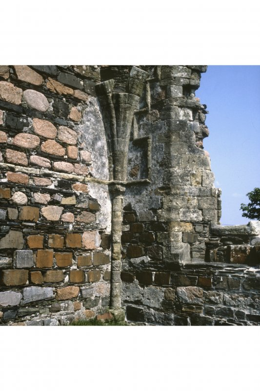 Iona, Iona Nunnery. View of North-East angle showing angle-shaft and vault springing.