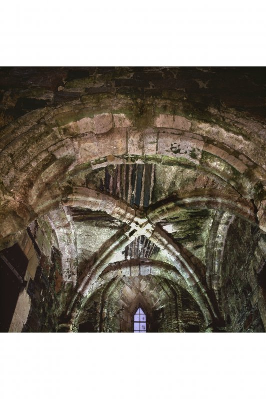 Iona, Iona Nunnery, interior. View of vault in North chapel.