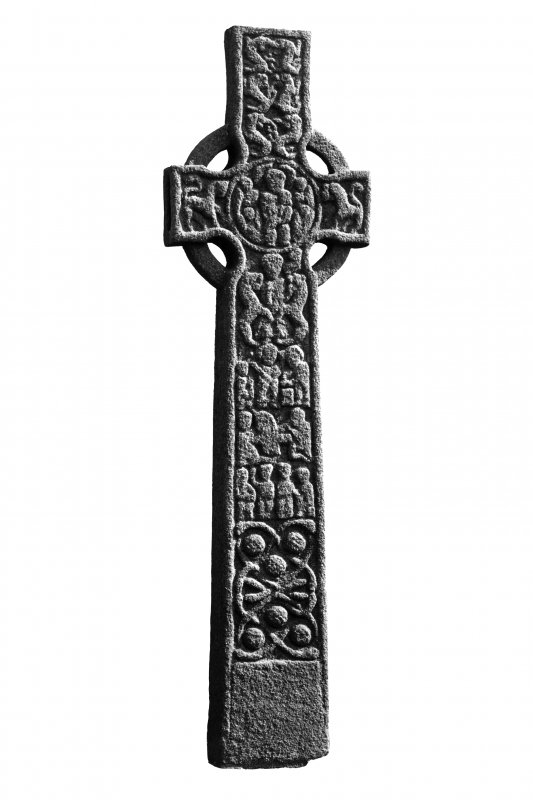 Iona, St Martin's Cross. General view of West face.