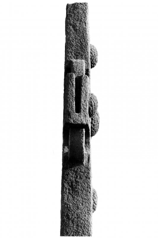 Iona, St Martin's Cross.  View of head from South showing slot.