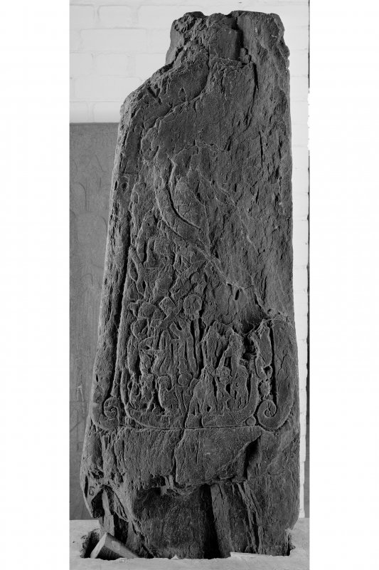 Iona, Iona Abbey museum. View of fragment of reverse side of Manx cross L66.