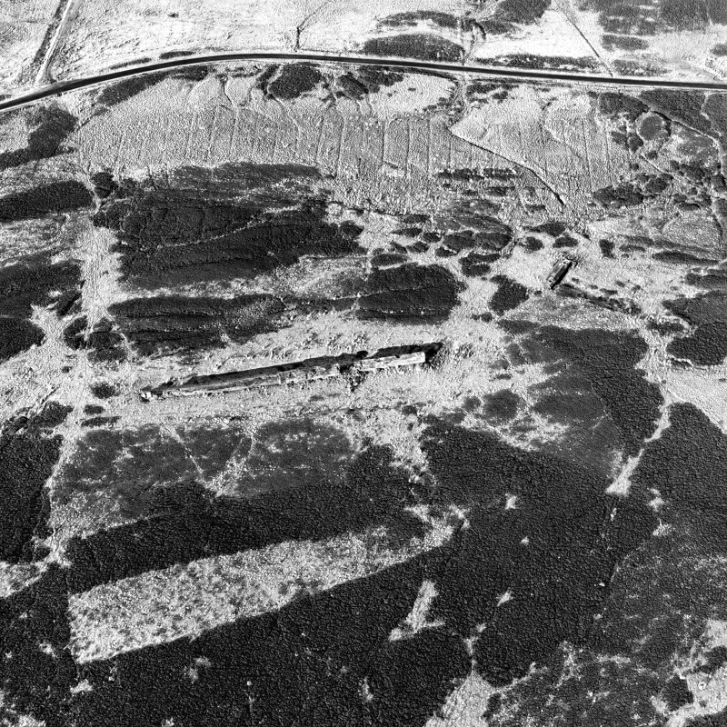 Oblique aerial view of Sheriff Muir centred on the Atlantic Wall, depot and tramway, taken from the SE.