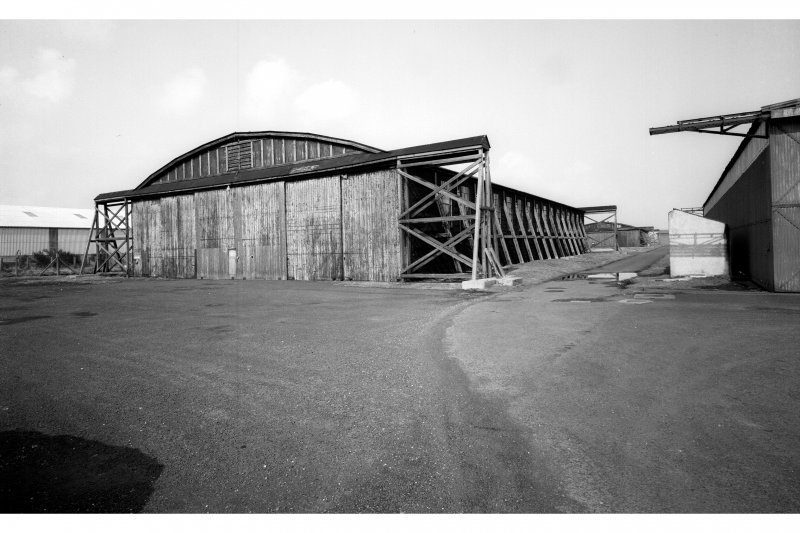 General view of timber hangars from SE.