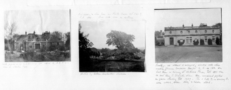 NMRS Survey of a Private Collection. Photograph of a page from a photograph album showing two photographs of alterations to Charleton, one photograph of view from Charleton.