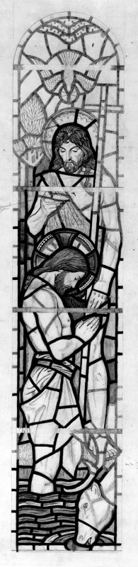 Photograph of drawing showing stained glass window in St Peter's Church. Design by Morris and Alice Meredith Williams.