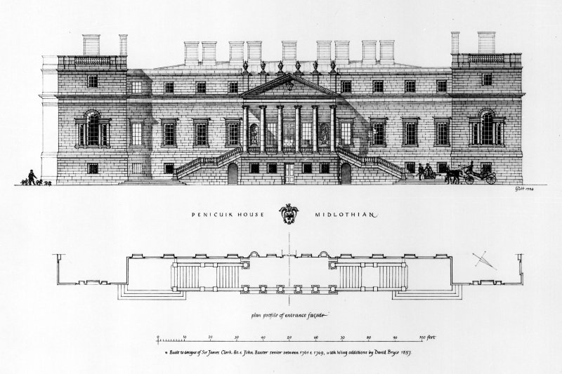 Photographic copy of conjectural reconstruction of survey drawing of Penicuik House. Insc. 'Built to designs of Sir James Clerk Bt. & John Baxter senior between 1761 & 1769, with wing additions by Dav ...