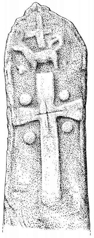 Publication drawing: carved stone bearing cross, Camas nan Geall Digital copy of AGD 717/1.