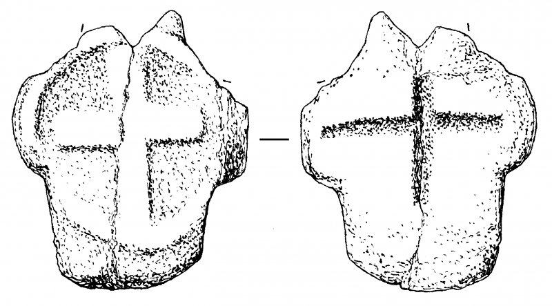 Crois Bheinn, Morvern. Damaged cruciform stone, cross marked both faces. AGD 714/1 (Fig. 167).