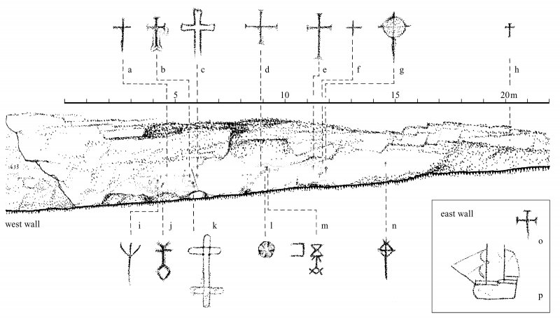 Publication drawing; Nun's Cave, Carsaig, Mull (No. 318) (elevation, scale 1:150; details, scale 1:15).