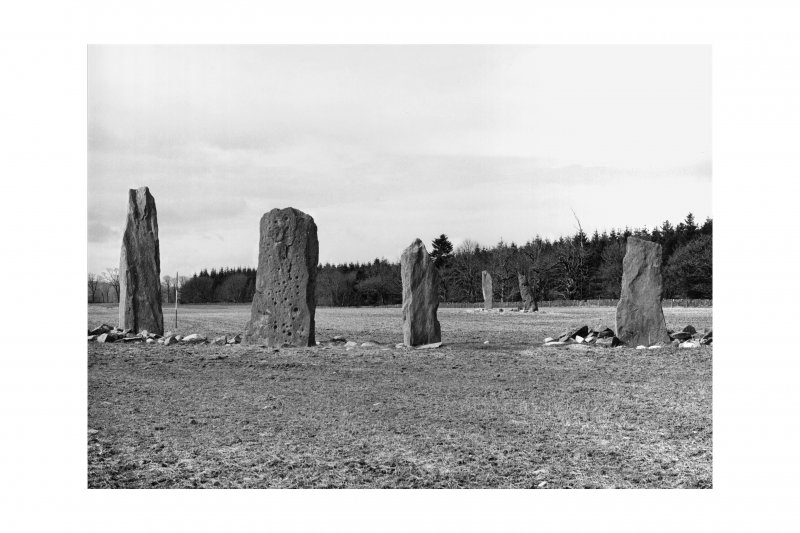 Ballymeanoch standing stones, from W