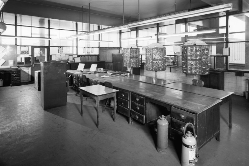 Interior view of time office and token boards, Seafield Colliery