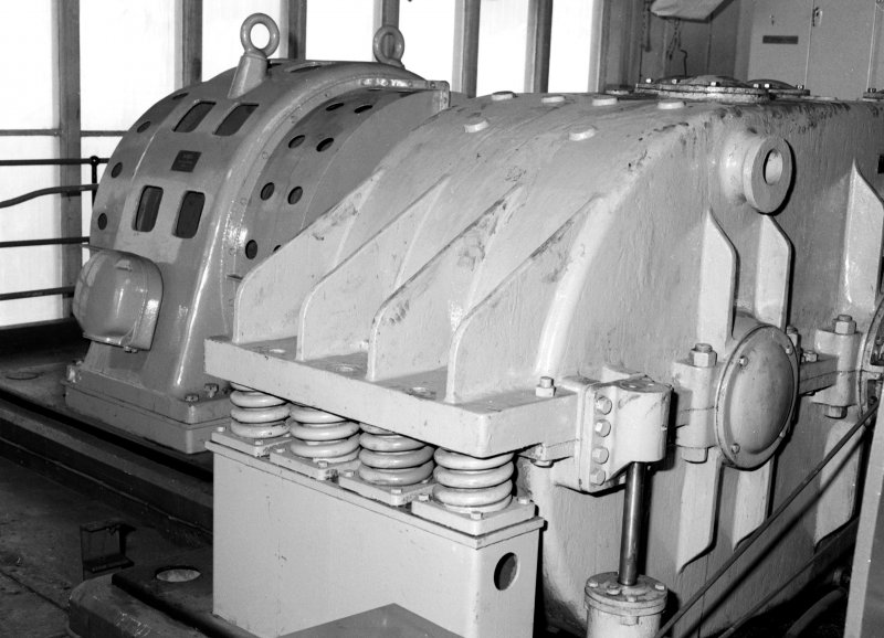 Detail of spring-mounted gearbox and 660kw 740rpm electric motor for No.2 winder - spring mounting designed to absorb high torque induced when winding, Seafield Colliery