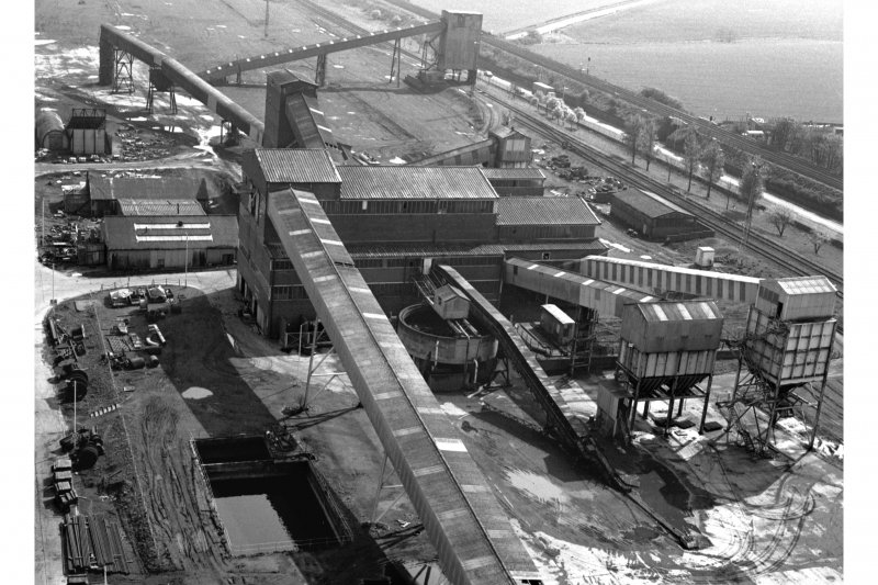 View of main body of coal preparation plant from top of No.1 winder's tower, Seafield Colliery
