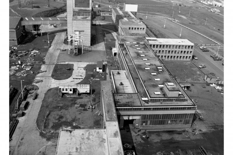 View from top from of No.2 winder's tower of main service buildings, offices, baths etc,  from the South, Seafield Colliery