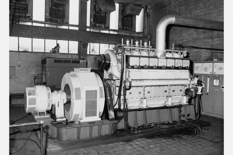 Fan house - detail of 7 cylinder diesel engine standby set with alternator and exciter, made by British Polar Diesels Ltd (Glasgow), type K57E, Seafield Colliery
