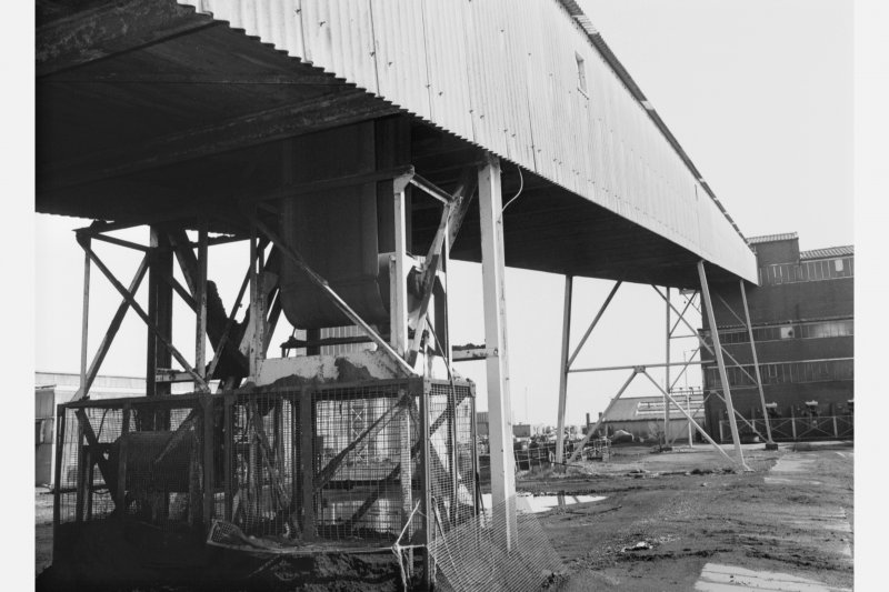 Detail of gravity tension device for belt conveyor in covered gantry leading to coal preparation plant, Seafield Colliery